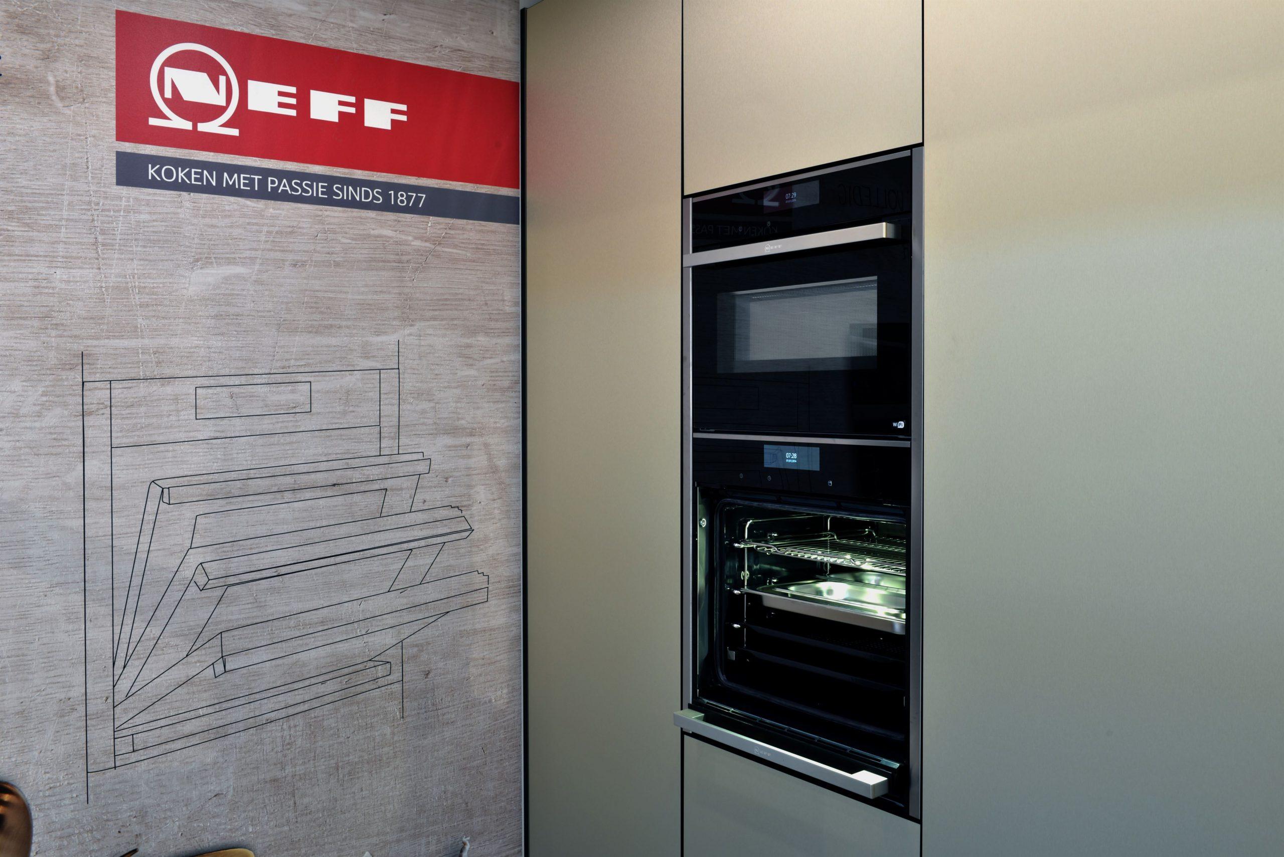Neff inbouw aparatuur, oven met inschuifbare deur en magnetron